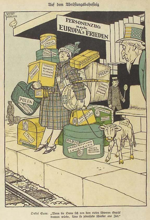 Auf Dem Abrüstungsbahnsteig Karikatur Im Kladderadatsch 20 Juni